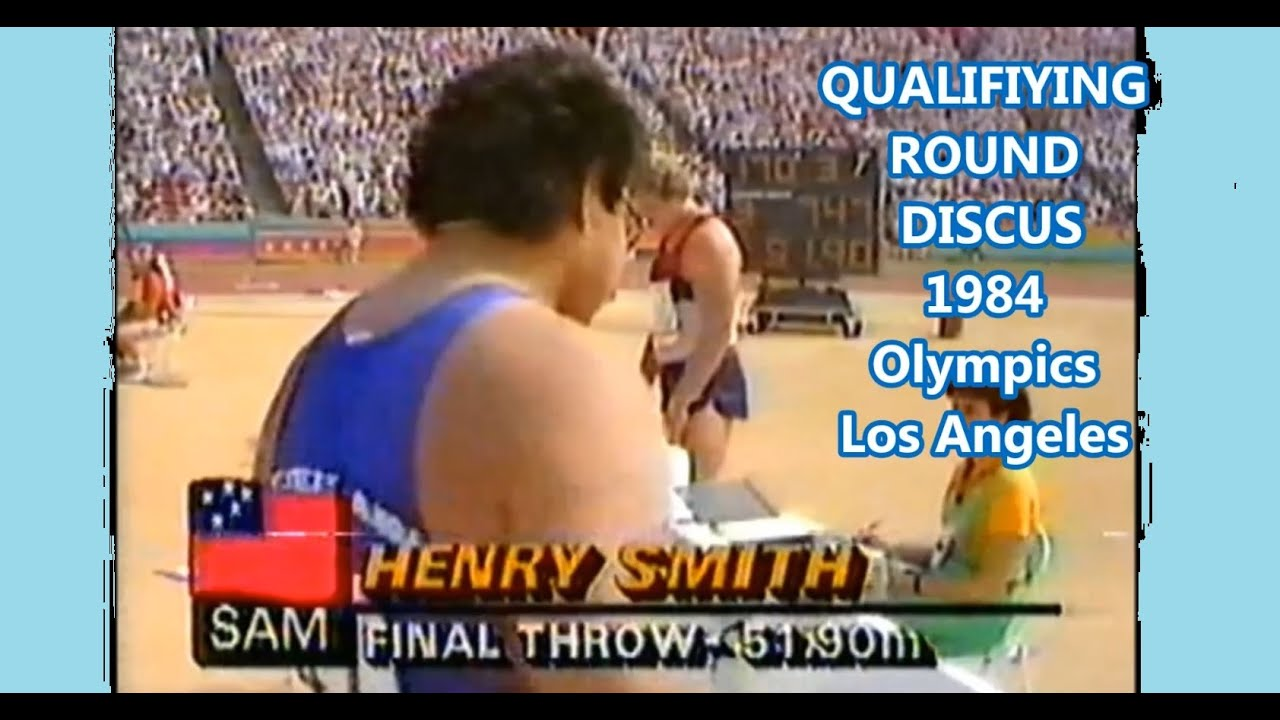 Henry Smith (Samoa) DISCUS 51.90 meters at the qualification 1984 Olympics Los Angeles