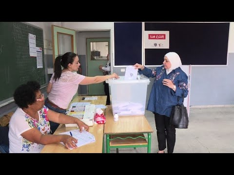 Lebanese vote at a polling station in Beirut