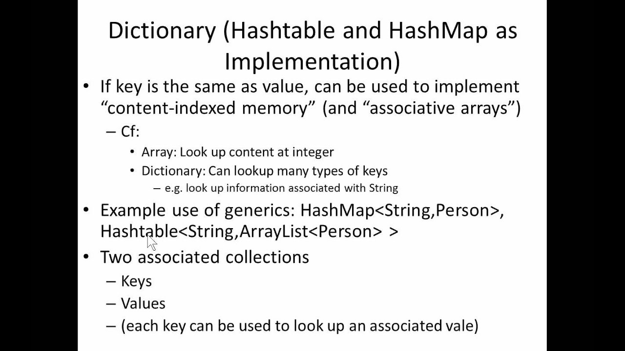 Java Collections Nugget 8basis Of Built In Java Dictionary