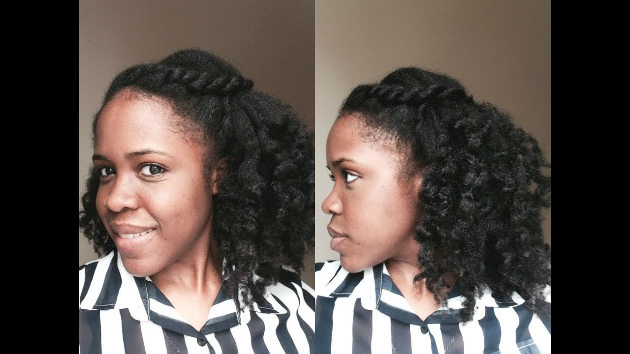 Quick and Easy Natural Hairstyle: Half up Half Down - YouTube