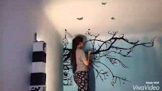 ○●Painting my room~turqoise w/ black branches ●○