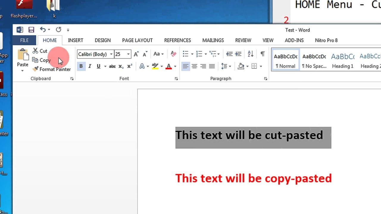 Microsoft Office Word 2013 Absolute Beginner Tutorials HOME Menu Cut ...