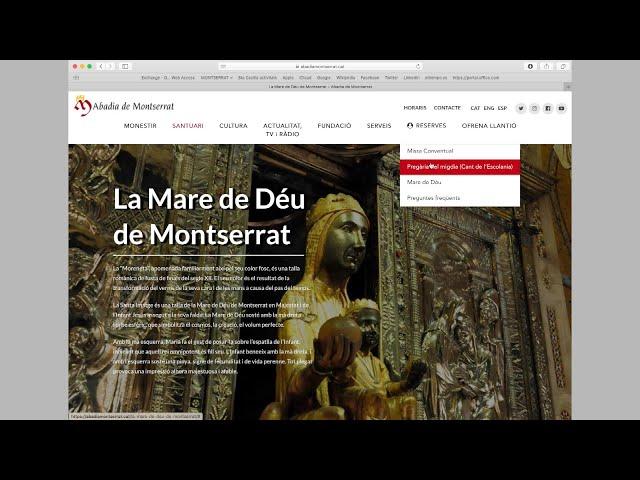 Tutorial de cómo hacer la reserva para las celebraciones en Montserrat
