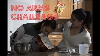 NO ARMS CHALLENGE// Making a cake