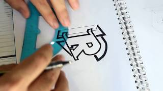 Draw R letter with a ruler - a simple symbol - timelapse