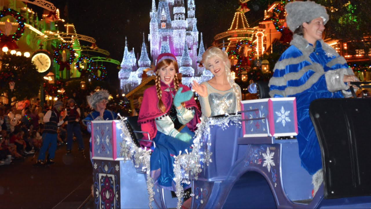 Mickey s once upon a christmastime parade at very merry party 2014 w frozen anna elsa olaf youtube