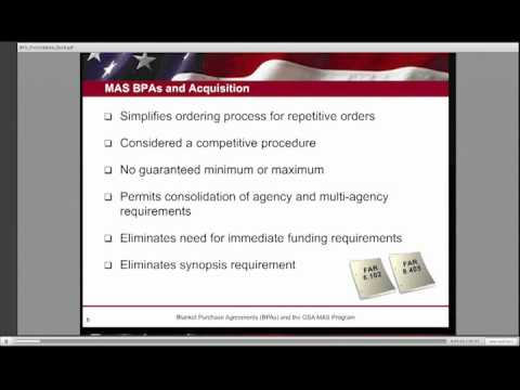 Gsa Training: Blanket Purchase Agreements (Bpas) - 1 Of 6 - Youtube