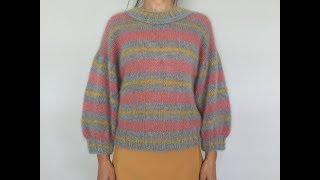 Полосатый мохеровый свитерок. Mohair knit sweater.