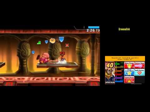 Captain Falcon  [234059] Super Smash Bros 4 3DS: Smash Run 200,000+ Score run