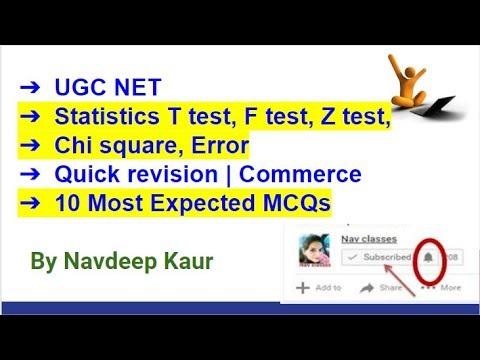 UGC NET | Statistics T test, F test, Z test, Chi square, Error | Quick  revision | Commerce