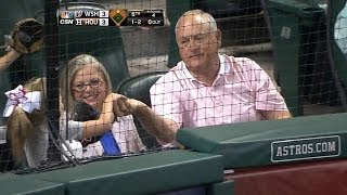 Nolan Ryan gives foul ball to young fan
