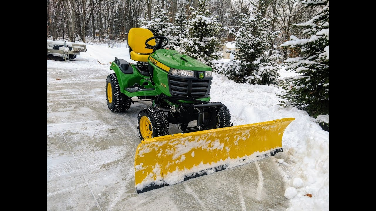 John Deere Snow Plow Move Snow In Style Snow Plowing With A 2017 John Deere X739 Tractor 72