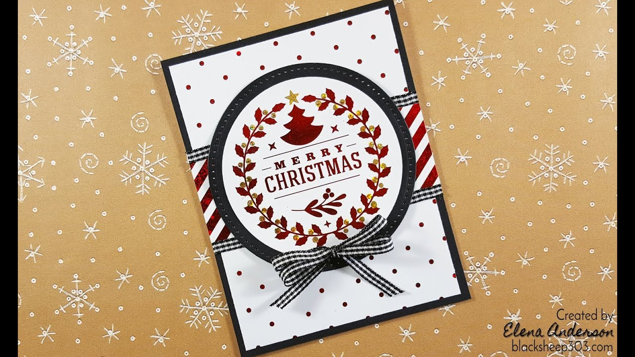 Easy Red & Black Christmas Card with Gina K Designs & Thermoweb ...