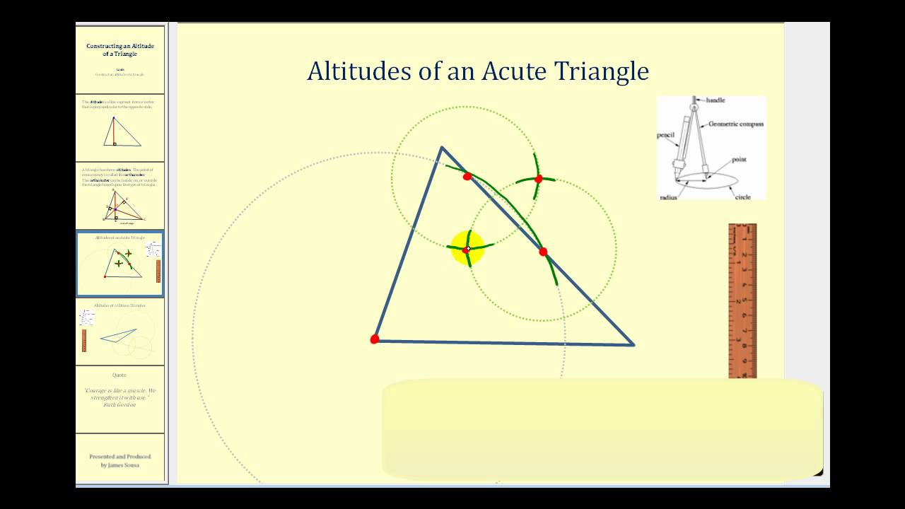 How to build a obtuse triangle with a compass and a ruler 49