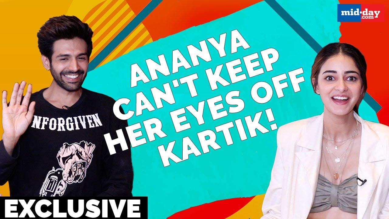 Pati Patni Aur Woh: Ananya Panday can't stop looking at Kartik Aaryan