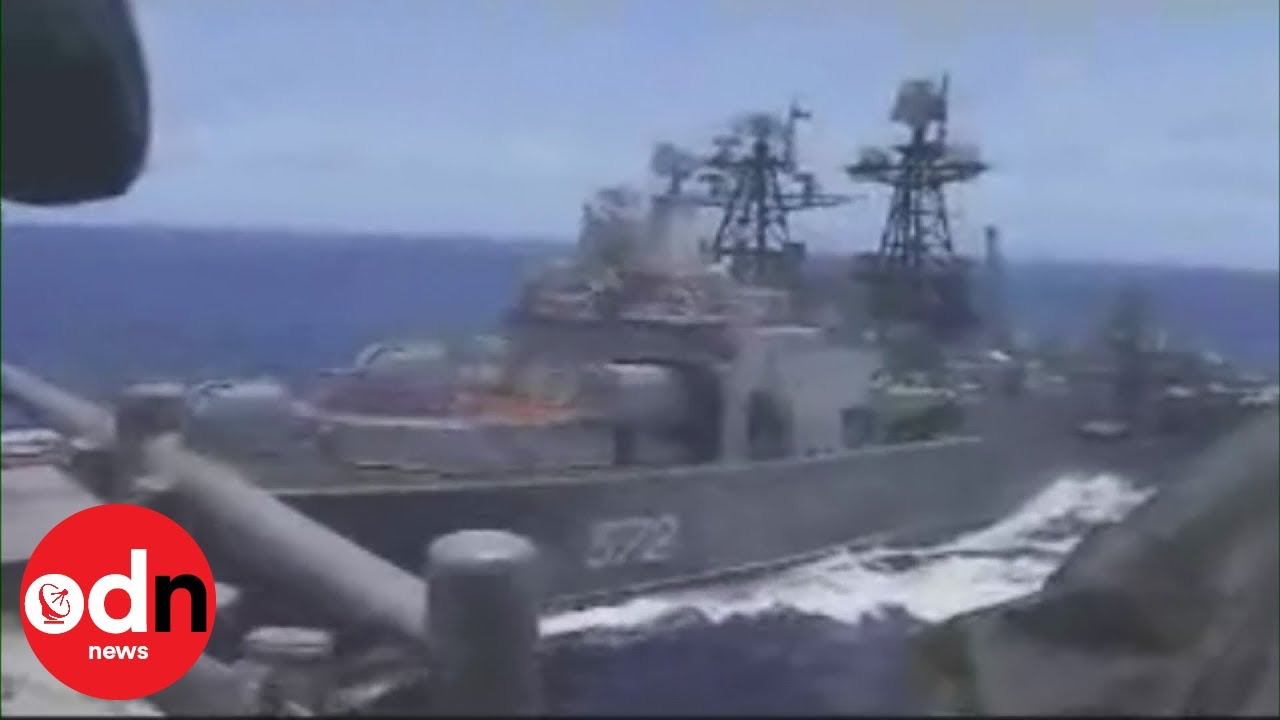 Watch the moment US and Russian battleships nearly collide in the Pacific