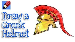How to draw an Ancient Greek Helmet Real Easy - Hoplite