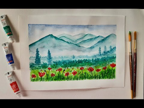 Simple  and easy Watercolor landscape painting ideas ||painting tutorial||beginner friendly.