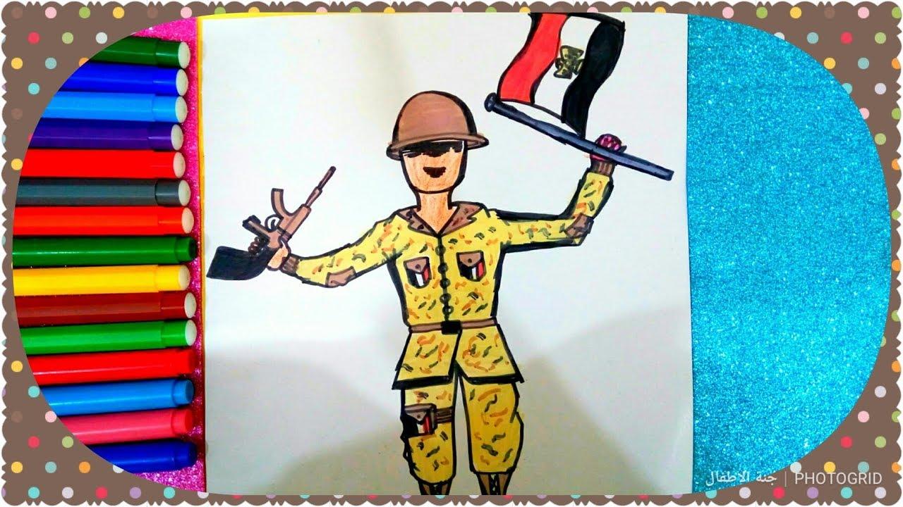 رسم جندى مصرى في حرب ٦ اكتوبر ١٩٧٣ للمبتدئين والاطفال بسهولة جدااا خطوة بخطوة
