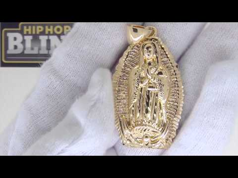 Gold Our Lady Guadalupe Diamond Cut Pendant