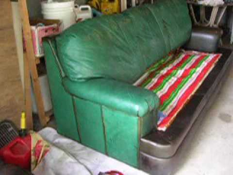 How I Dyed A Green Leather Sofa Brown Part 2