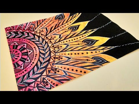 Flower Mandala Drawing on Painted Paper with Paint Markers and Gel Pens #BeCre8ive2