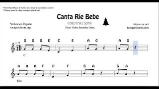 Canta rie bebe Christmas Notes Sheet Music for Flute Violin Oboe Voice    Easy Carol Song