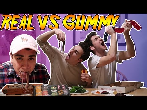 REAL FOOD vs GUMMY FOOD CHALLENGE (WORMS, PIZZA, HOT DOGS, SUSHI)
