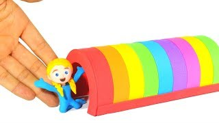 SUPERHERO BABIES PLAYING UNDER A RAINBOW TUNEL ❤ SUPERHERO PLAY DOH CARTOONS FOR KIDS