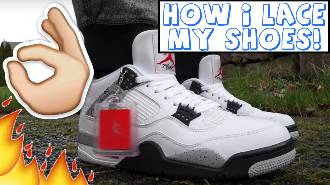 77743f378df61e How I Personally Lace My Jordan White Cement 4 s!! - YouTube