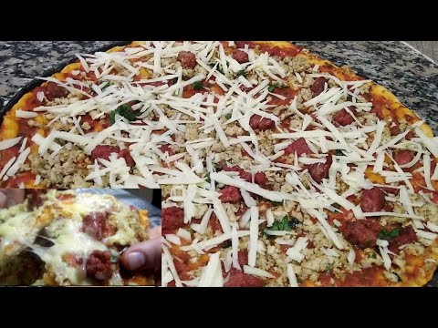 أسهل-وأسرع-بيتزا-2020-بعجينةخفيفة-recette-de-pizza-facile,-rapide-et-délicieuse
