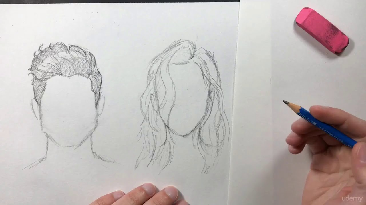 057 Learn how to draw hair - YouTube