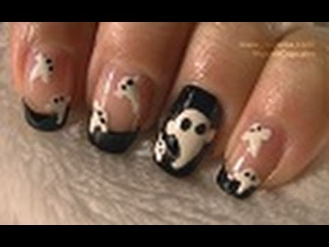Halloween Nails - Easy Black and White Ghosts Nail Art ...