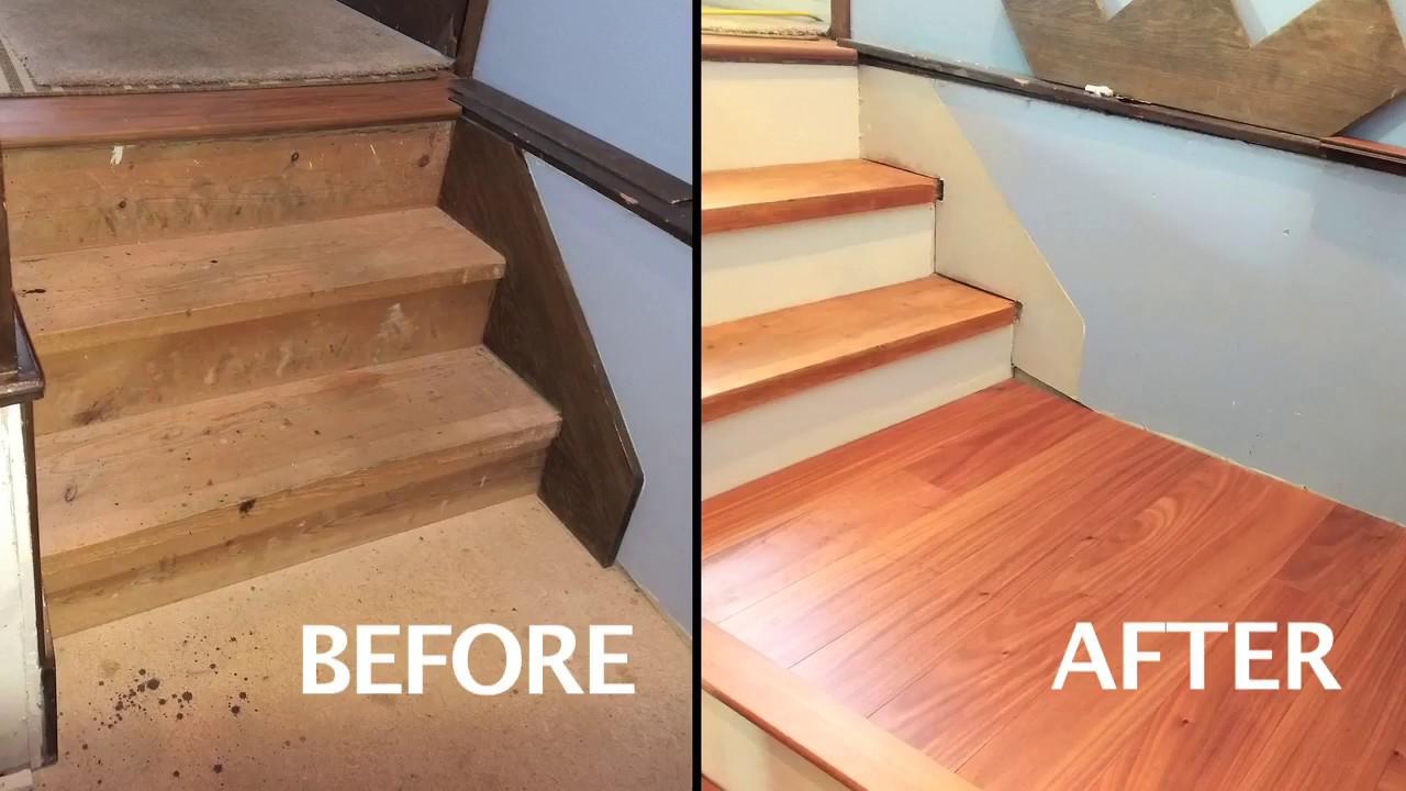 Engineered Wood Floor Install On Stair Platform Youtube   Engineered Wood Stair Treads   Hickory   Platform   Finished   Engineered Hardwood   Luxury Vinyl