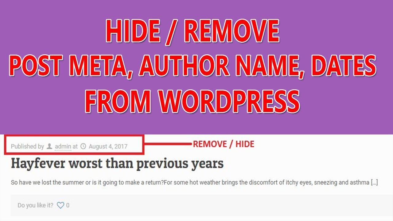 How To Hide Author Name Dates Meta From Category And Post Wordpress Tutorial 2017