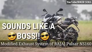 Bajaj Pulsar NS modified exhaust  SOUNDS LIKE A BOSS  by biker soul