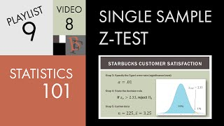 Statistics 101: Single Sample Hypothesis Z-test Examples
