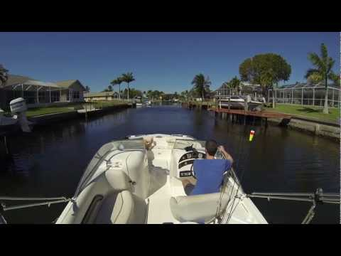 Leaving the boat dock at our Cape Coral Rental Villa with rental boat (GoPro Hero 3 on board)