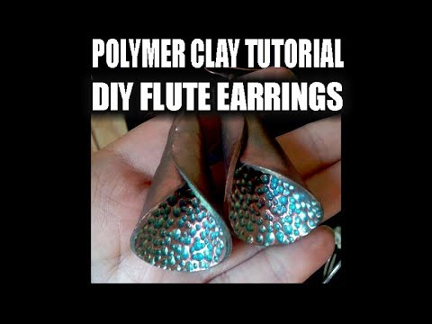 058-Faux metal patina flute earrings in polymer clay tutorial