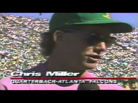 Former Oregon QB Chris Miller interviewed on sidelines of 1990 BYU-Oregon game