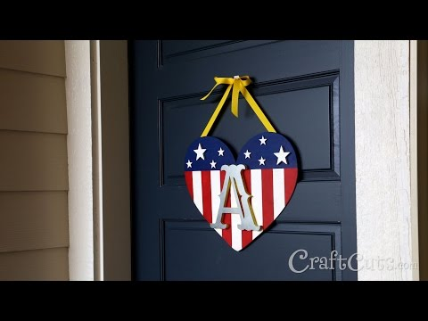 DIY Patriotic Monogram Door Hanger