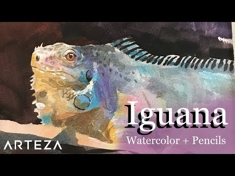 arteza-watercolor-+-gouache-+-watercolor-pencils-demo:-pet-shop-iguana
