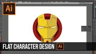 Adobe Illustrator Tutorial: Flat Character Design | Iron Man
