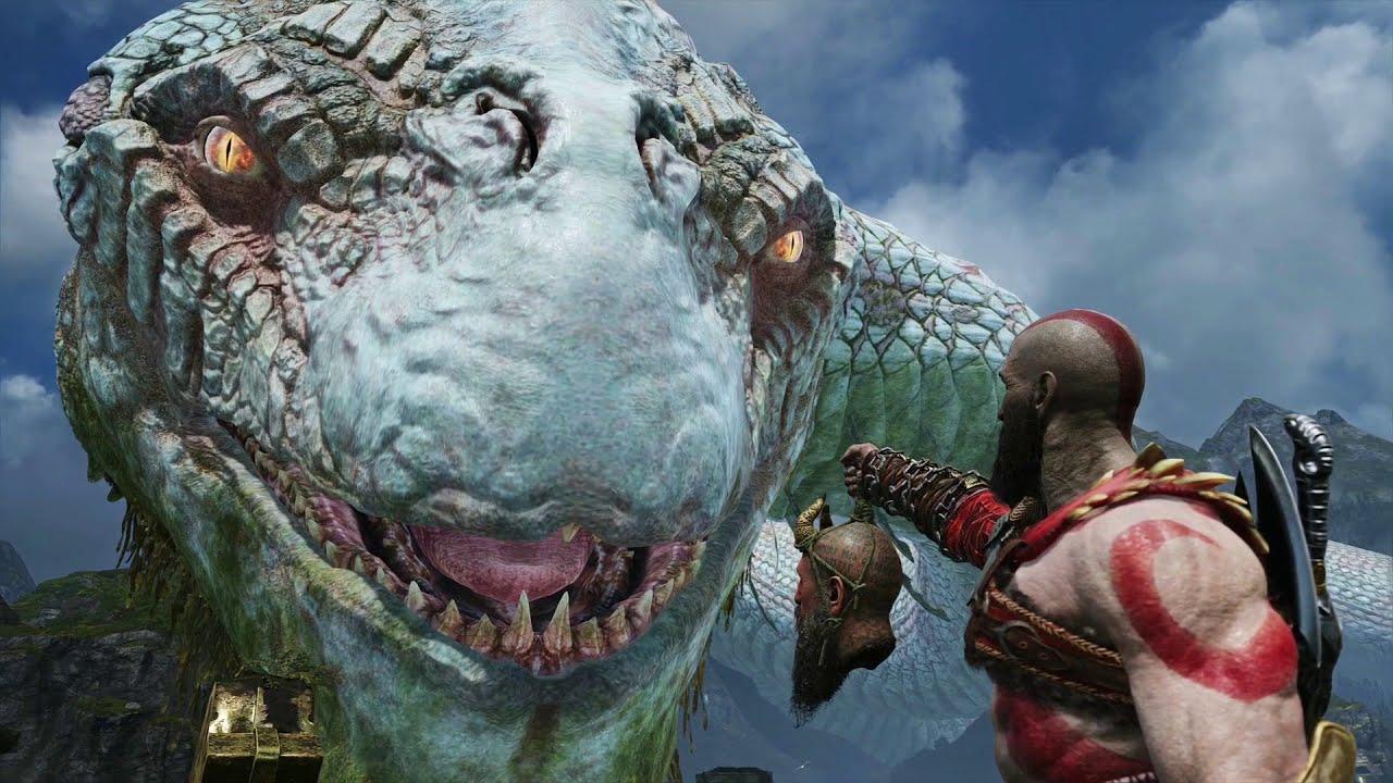 God of war 4 the world serpent jormungandr story all - God of war jormungandr ...