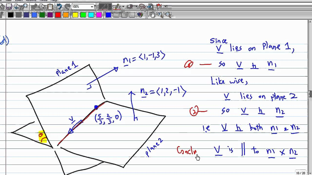How to find angle of intersection between two lines