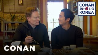Conan & Steven Yeun Enjoy A Traditional Korean Meal thumbnail