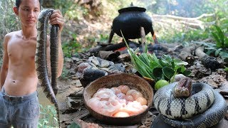 Primitive Technology: Find snake in river - Cooking snake sour soup eating delicious