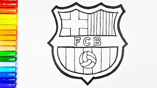 How to draw fc barcelona logo easy step by step. drawing and coloring pages for soccer fans kids.