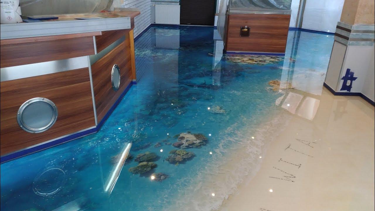 Inne rodzaje Podłoga 3D w połysku, podłoga graficzna, podłoga żywiczna EQ39