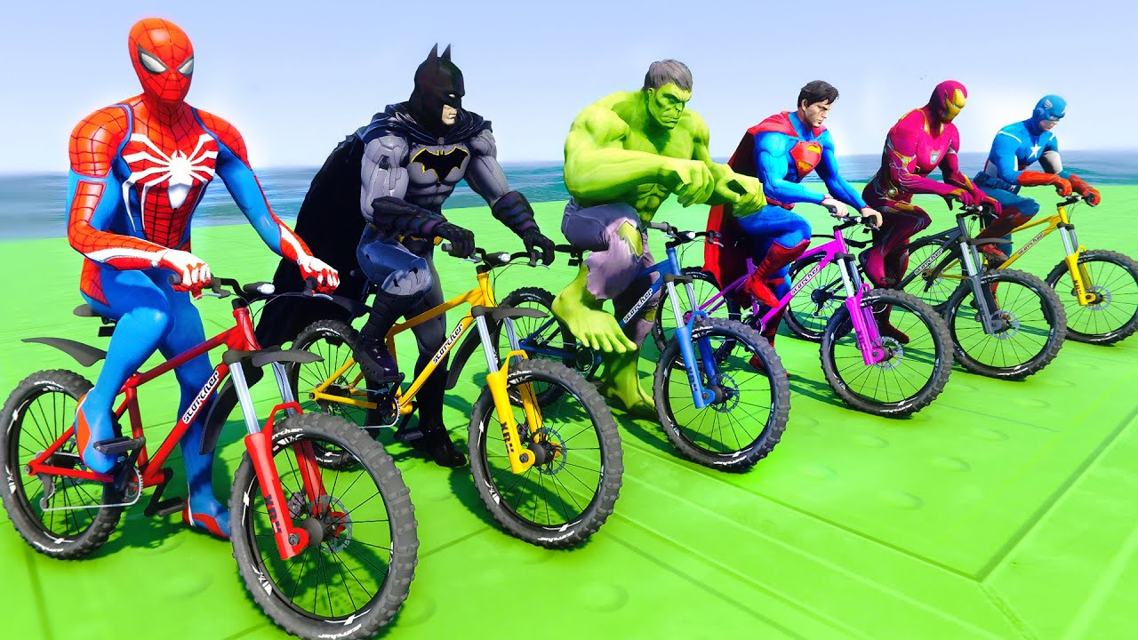 Spiderman And Superheroes Batman Iron man Hulk Superman With Bicycles Challenge - GTA V MODS